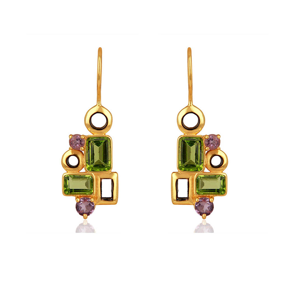 Buy Aurora Collection Peridot and Amethyst Earrings Online 1