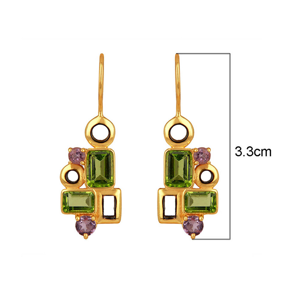 Buy Sparkling Earrings Online- Aurora Collection Peridot and Amethyst Earrings 2