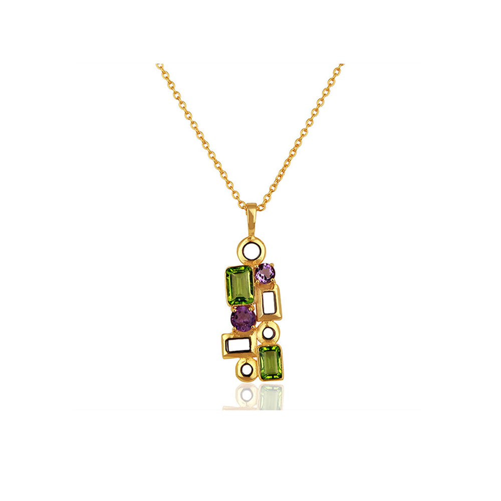 Aurora Sparkling Peridot and Amethyst Pendant with Chain