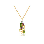 Buy 18 ct Pendant Necklace Online-Aurora Collection Peridot and Amethyst Pendant with Chain UK