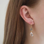 Affordable Hep Audrey Aurora Rose Quartz and Grey Moonstone Sterling Silver Earrings
