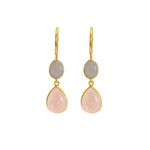 Buy - Hep Audrey Aurora Rose Quartz and Grey Moonstone Sterling Silver Earrings UK