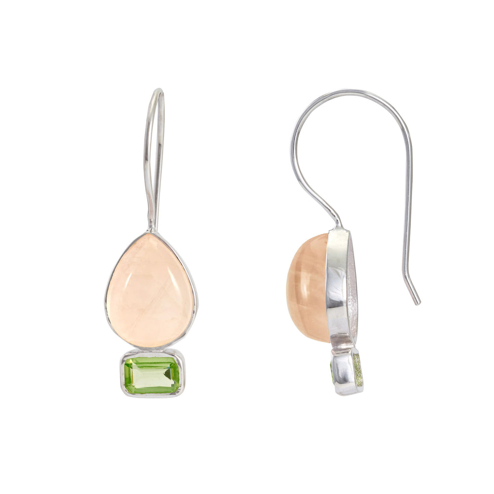 Buy Online Aurora Collection  Sterling Silver Hangings with Rose Quartz and Peridot  2