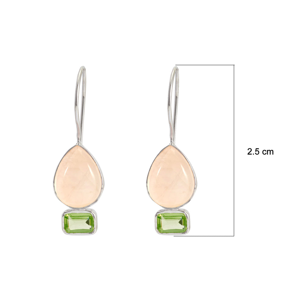 Buy Online Aurora Collection Tear Drop Shaped Rose Quartz and Peridot Earrings 3