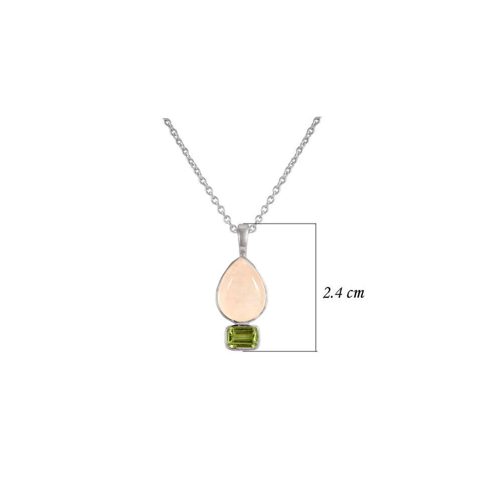 Buy Online Aurora Collection  Sterling Silver  Chain with Rose Quartz and Peridot Pendant 2
