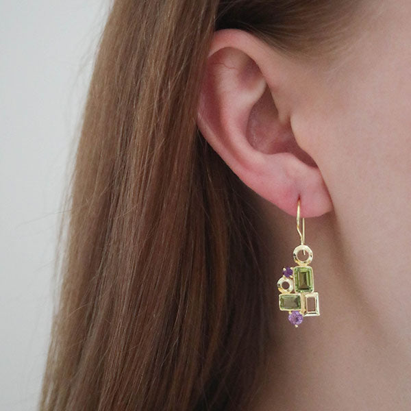 Buy Sparkling Earrings Online- Aurora Collection Peridot and Amethyst Earrings 3