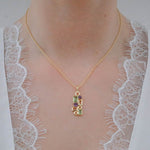 Buy 18 ct Pendant Necklace Online-Aurora Collection Peridot and Amethyst Pendant with Chain 5