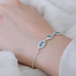Buy - Hep Audrey Aurora Sparkly Blue Topaz and Peridot Sterling Silver Bracelet