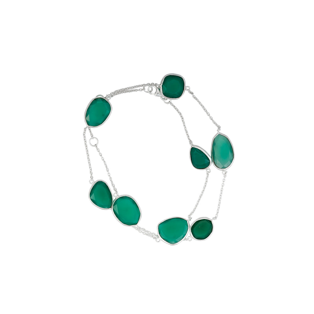 Corona Delicate Green Onyx Sterling Silver Bracelet Cum Necklace