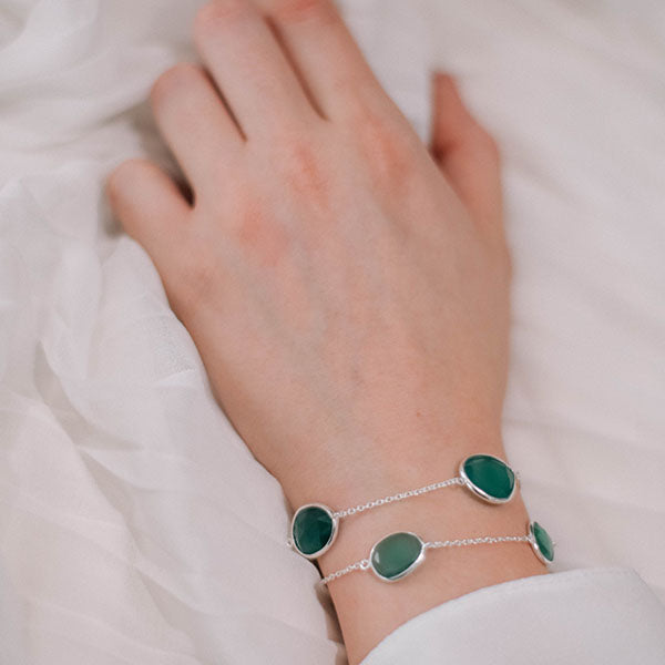 Buy - Hep Audrey Corona Collection Delicate Green Onyx Sterling Silver Bracelet Cum Necklace