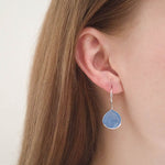Corona Large Pear Sterling Silver Earrings with Blue Chalcedony