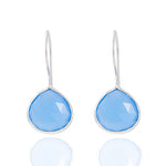 Buy Online Corona Collection Large Pear Sterling Silver Earrings with Blue Chalcedony UK