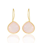 Buy Online Corona Collection Large Pear Sterling Silver Earrings with Rose Quartz 1