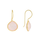 Corona Large Pear Sterling Silver Earrings with Rose Quartz