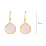Buy Hook Sterling Silver Earring Online- Corona Collection Large Pear Sterling Silver Earrings with Rose Quartz UK