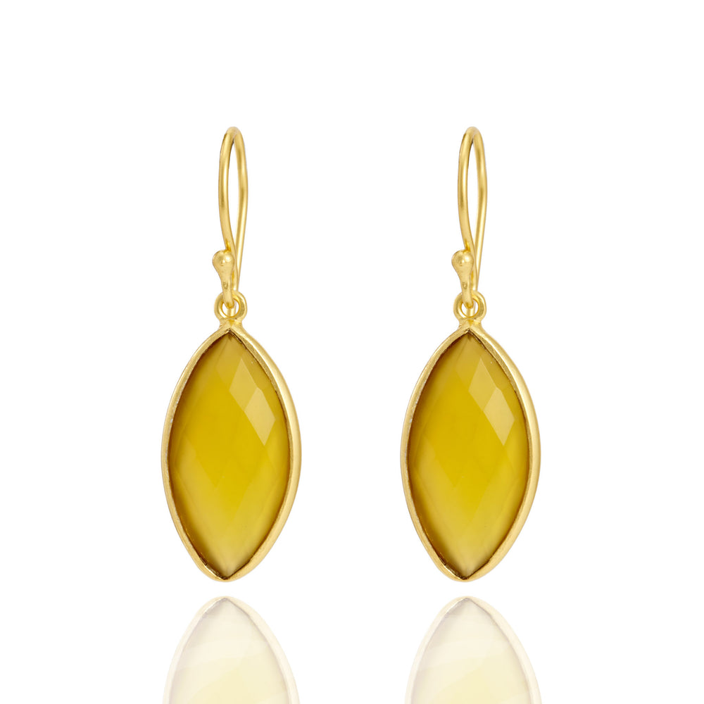 Buy Online Corona Collection Marquise Sterling Silver Earrings with Yellow Chalcedony