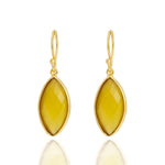 Buy Hook Style Earrings Online- Corona Collection Marquise Sterling Silver Earrings with Yellow Chalcedony UK