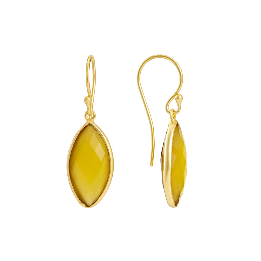 Corona Marquise Sterling Silver Earrings with Yellow Chalcedony