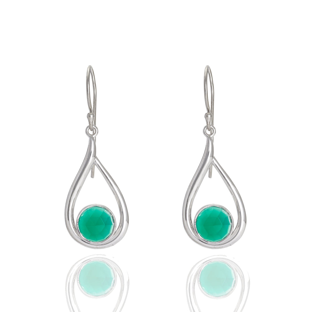 Buy Online Corona Collection Round Stone Sterling Silver Earrings with Green Onyx UK