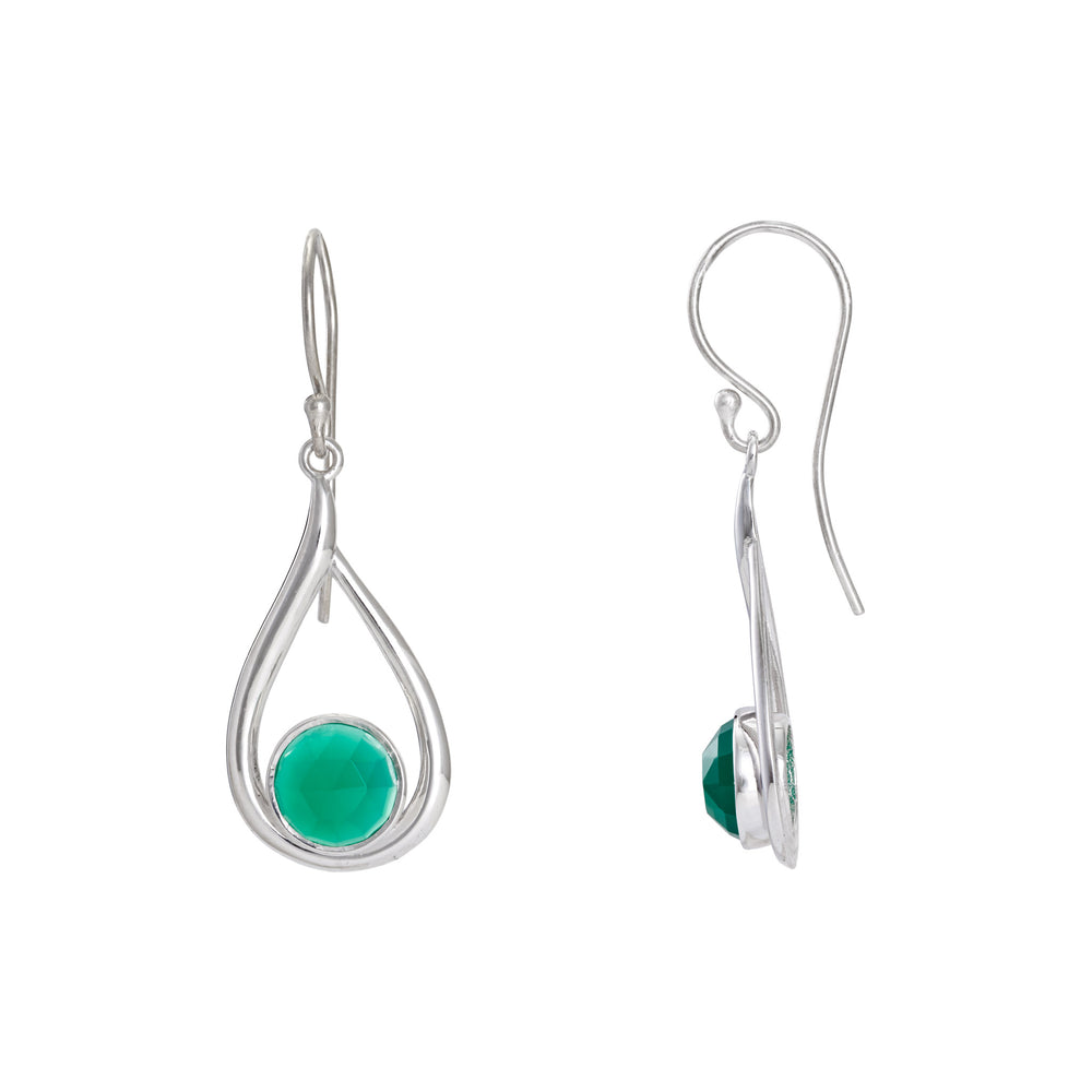 Corona Round Stone Sterling Silver Earrings with Green Onyx