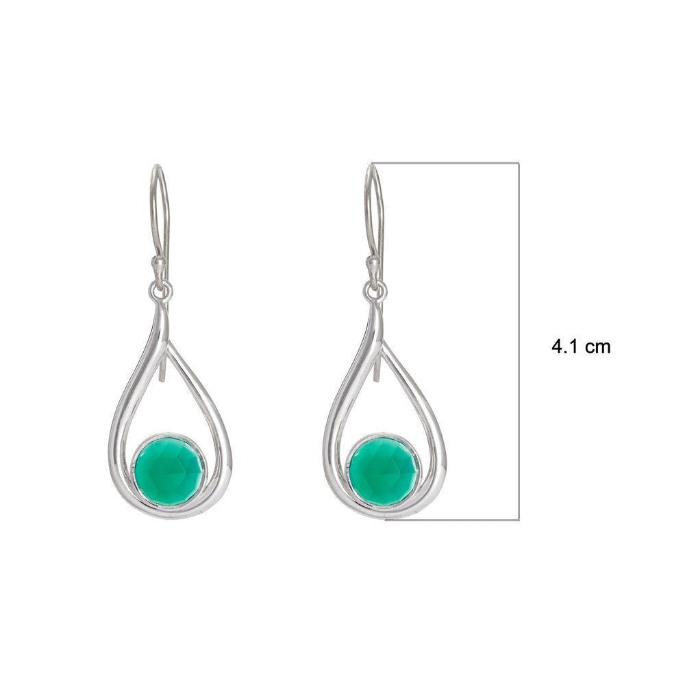 Buy Pear Shaped Sterling Silver EarringsOnline- Corona Collection Round Stone Sterling Silver Earrings with Green Onyx UK