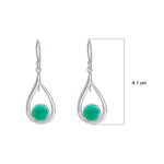 Buy Pear Shaped Sterling Silver EarringsOnline- Corona Collection Round Stone Sterling Silver Earrings with Green Onyx 2