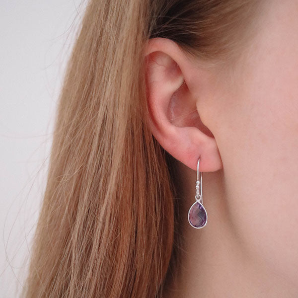 Corona Sparkly Small Pear Sterling Silver Earrings with Amethyst