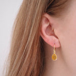 Affordable Hep Audrey Corona Collection Small Pear Sterling Silver Earrings With Yellow Chalcedony
