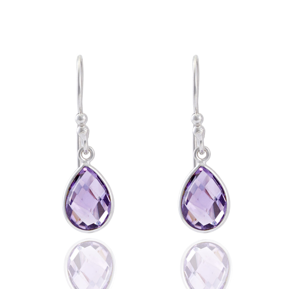 Buy Online Corona Collection Small Pear Sterling Silver Earrings with Amethyst 1