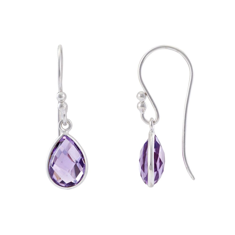 Buy Online Hook Earrings- Corona Collection Small Pear Sterling Silver Earrings with Amethyst UK