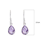 Buy Natural  Amethyst Earrings Online- Corona Collection Small Pear Sterling Silver Earrings with Amethyst UK