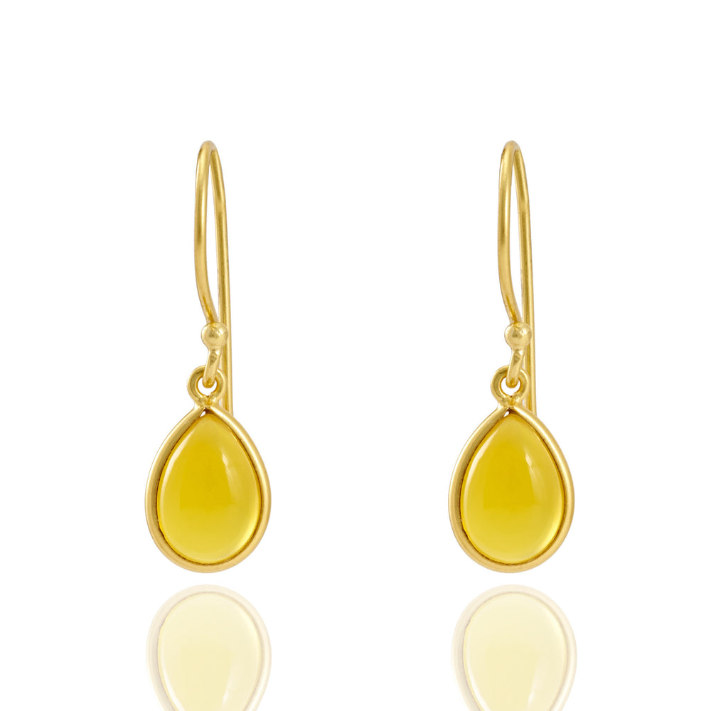 Buy Online Sterling Silver Hangings- Corona Collection Small Pear Sterling Silver Earrings with Yellow Chalcedony UK