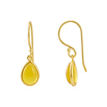 Buy Pear Shaped Hook Style Earrings Online- Corona Collection Small Pear Sterling Silver Earrings with Yellow Chalcedony UK