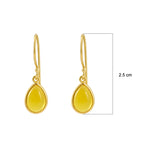 Buy Online Sterling Silver Hangings- Corona Collection Small Pear Sterling Silver Earrings with Yellow Chalcedony 3