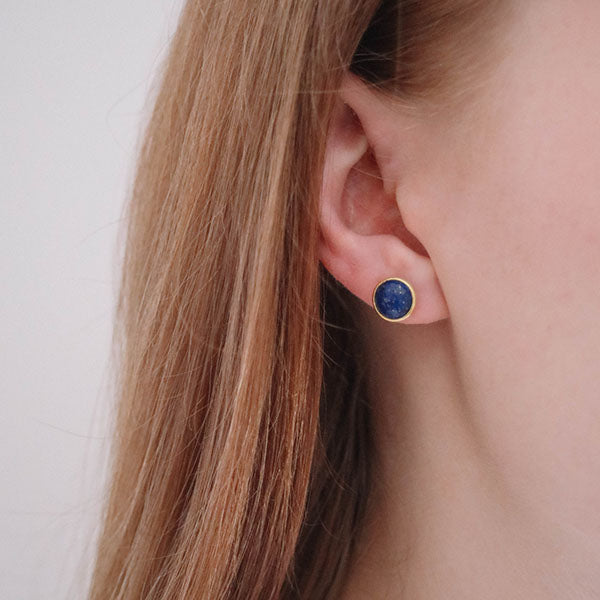 Corona Sparkling Sterling Silver Stud Earrings with Lapis Lazuli