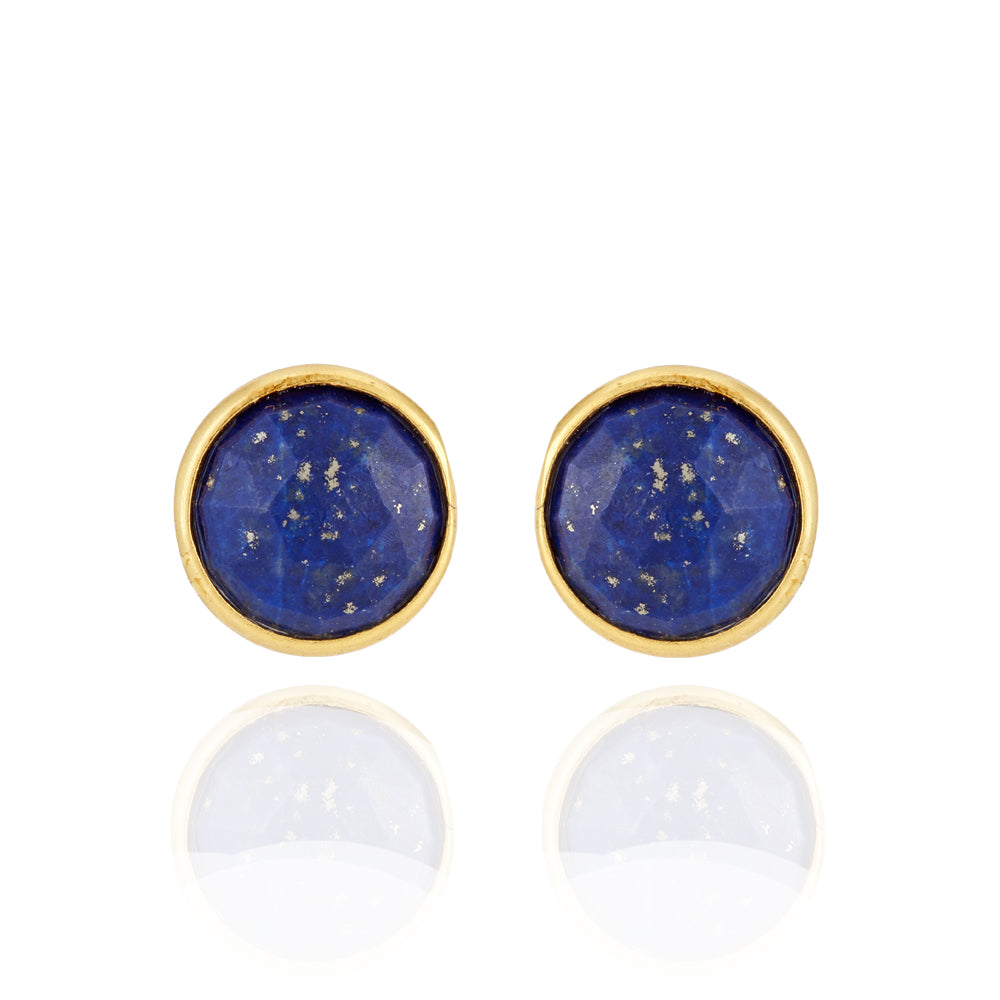 Hep Audrey Corona Sparkling Sterling Silver Stud Earrings with Lapis Lazuli 1