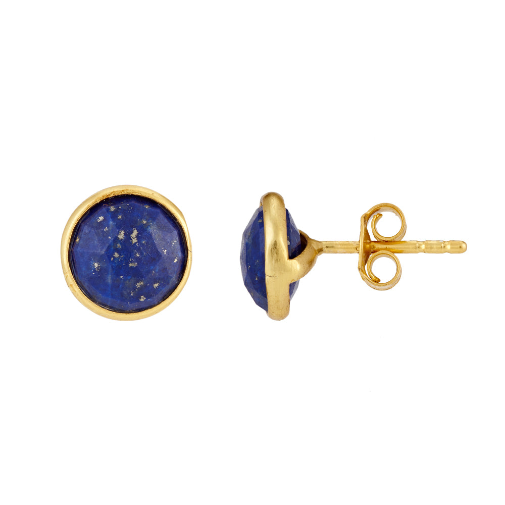 Buy - Hep Audrey Corona Sparkling Sterling Silver Stud Earrings with Lapis Lazuli