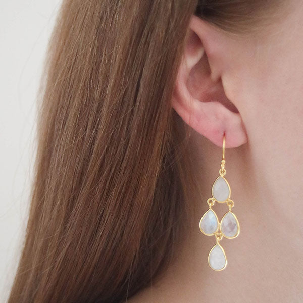 Hep Audrey Corona Collection Sterling Silver Chandelier Earrings With Rainbow Moonstone 4