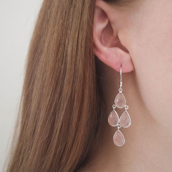 Affordable rose quartz drop earrings