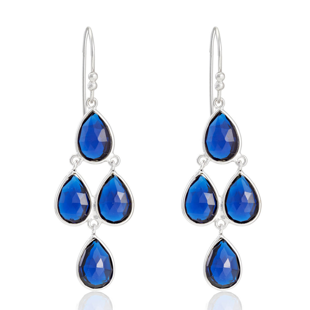 Buy Online London UK Earrings- Corona Collection Sterling Silver Chandelier Earrings with Blue Corundum UK