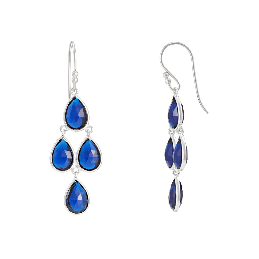 Buy Online Chandelier Earrings-Corona Collection Sterling Silver Chandelier Earrings with Blue Corundum 2