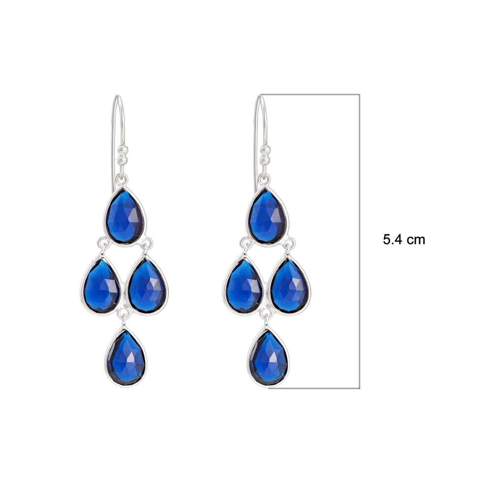 Buy Online London UK Earrings- Corona Collection Sterling Silver Chandelier Earrings with Blue Corundum 3