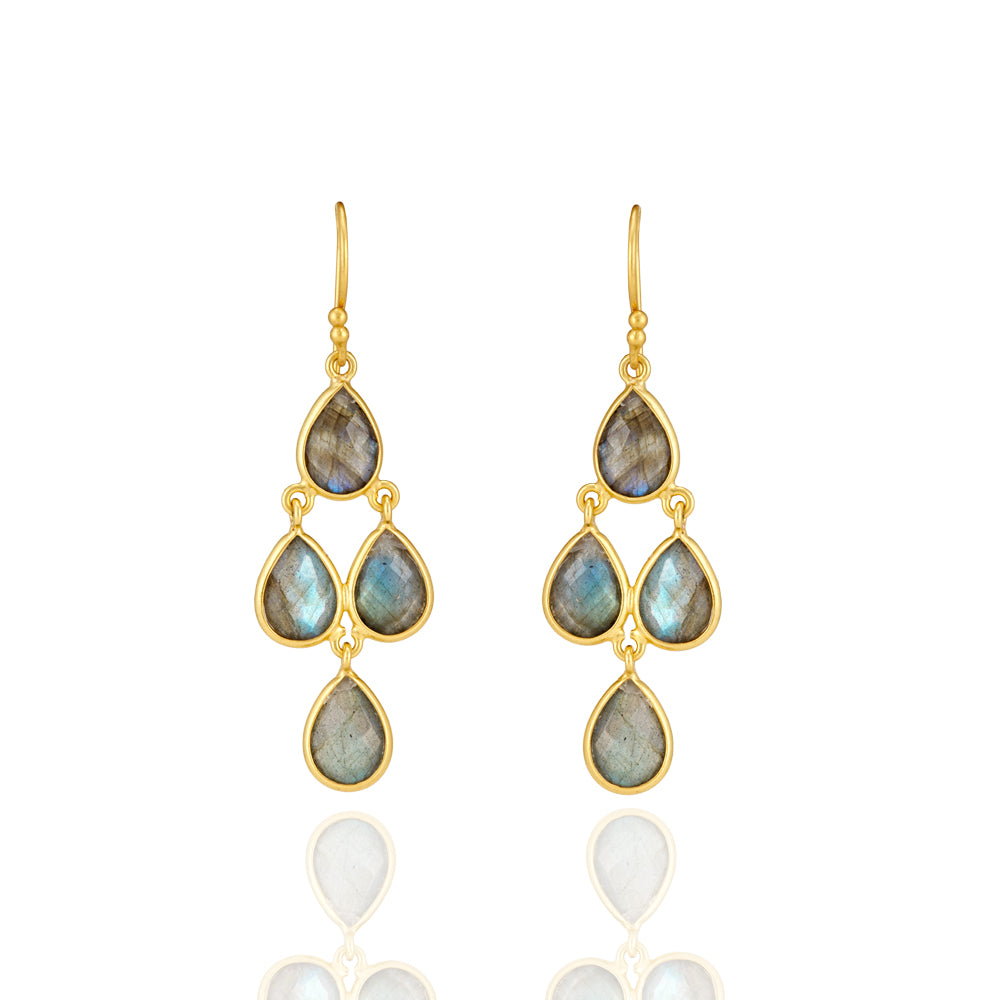 Hep Audrey Corona Sterling Silver Chandelier Earrings with Labradorite 1