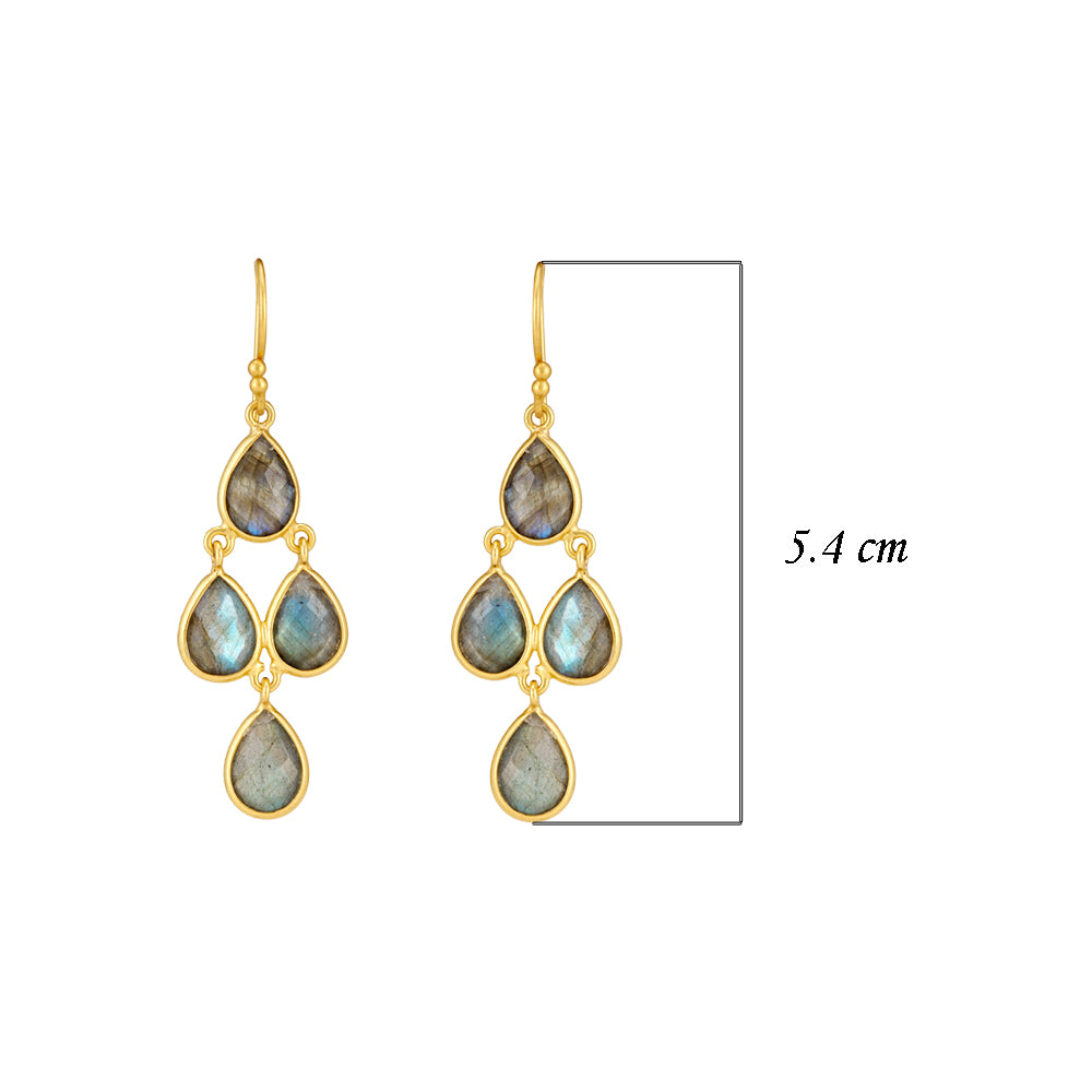 Hep Audrey Corona Sterling Silver Chandelier Earrings with Labradorite 3