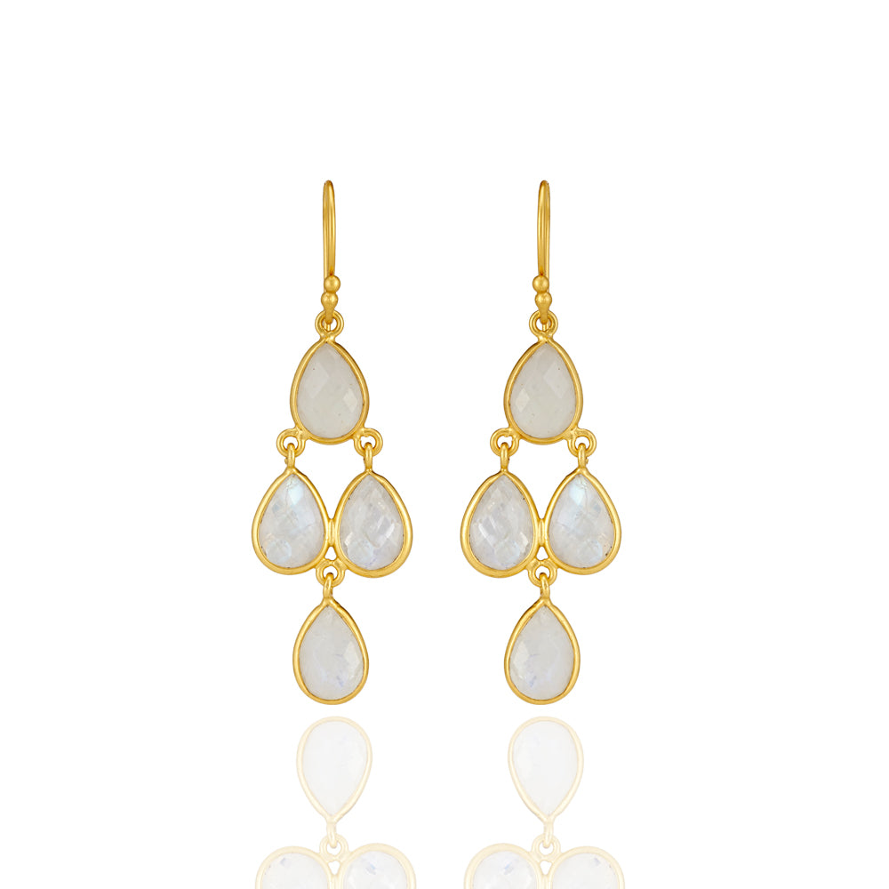 Hep Audrey Corona Sterling Silver Chandelier Earrings with Rainbow Moonstone 1