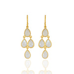 Hep Audrey Corona Sterling Silver Chandelier Earrings with Rainbow Moonstone UK