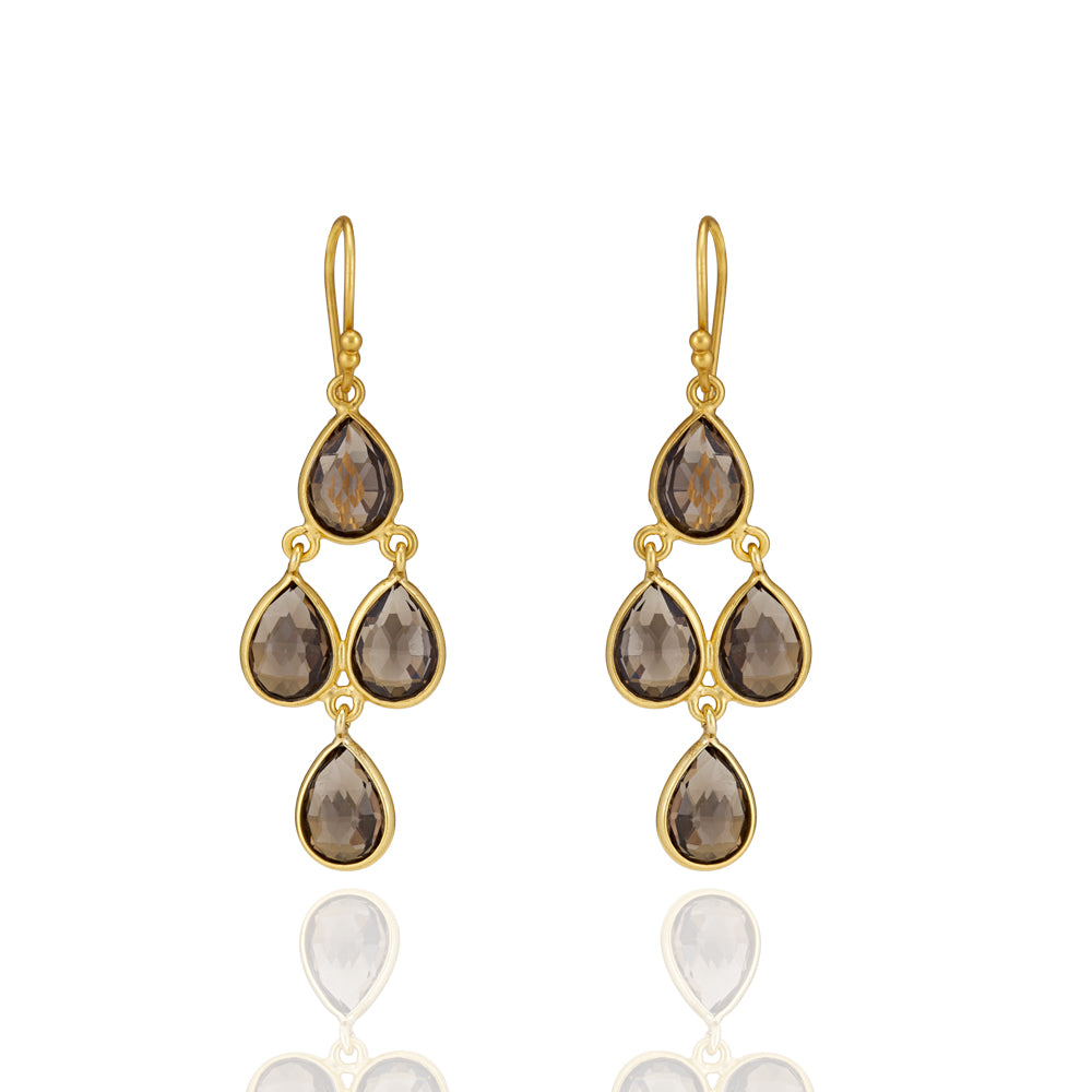 Hep Audrey Corona Sterling Silver Chandelier Earrings with Smoky Topaz 1