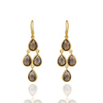 Hep Audrey Corona Sterling Silver Chandelier Earrings with Smoky Topaz UK