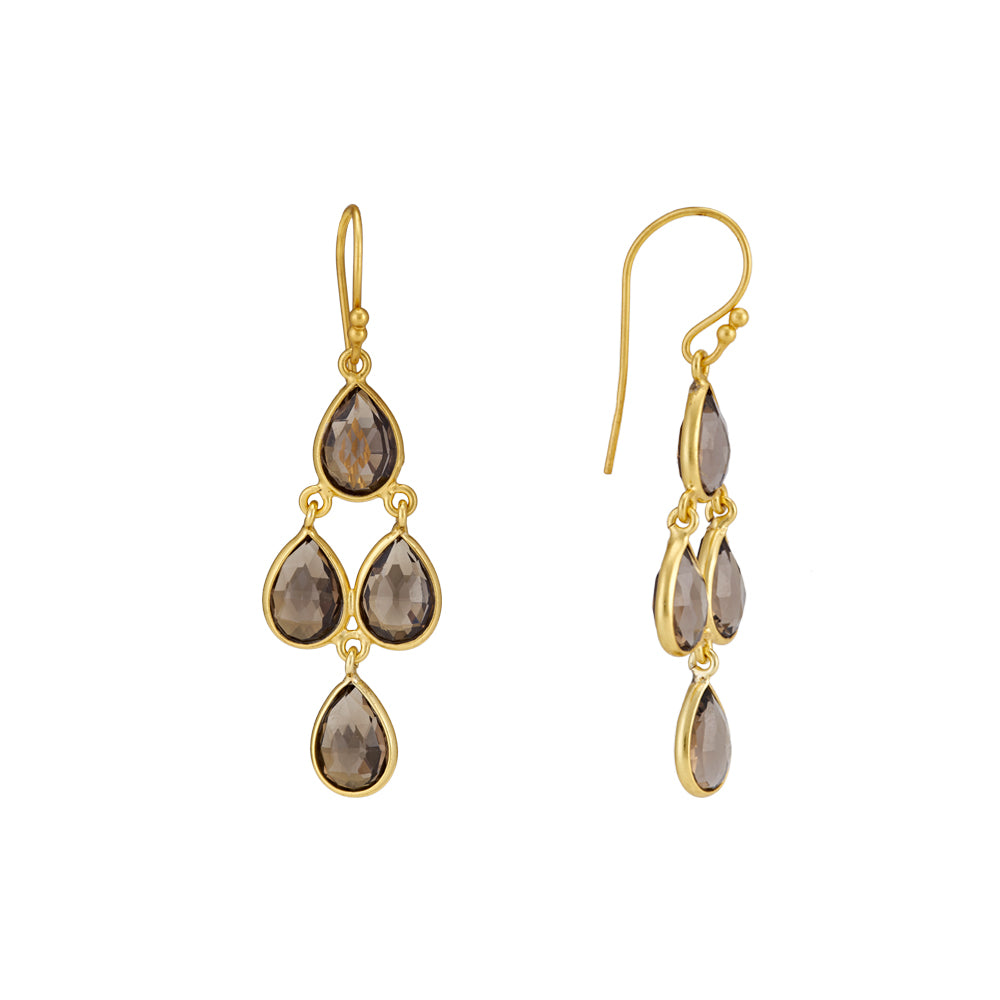 Hep Audrey Corona Sterling Silver Chandelier Earrings with Smoky Topaz 2