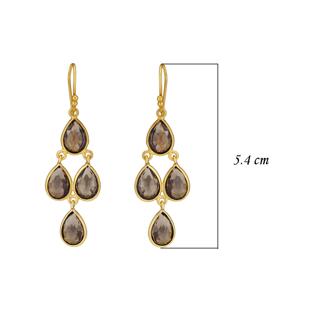 Hep Audrey Corona Sterling Silver Chandelier Earrings with Smoky Topaz 3